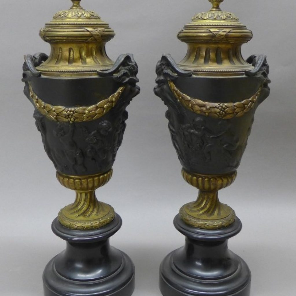 Pair Antique Covered Urns, 19th Century Lot 54 - View this item at LiveAuctioneers.com