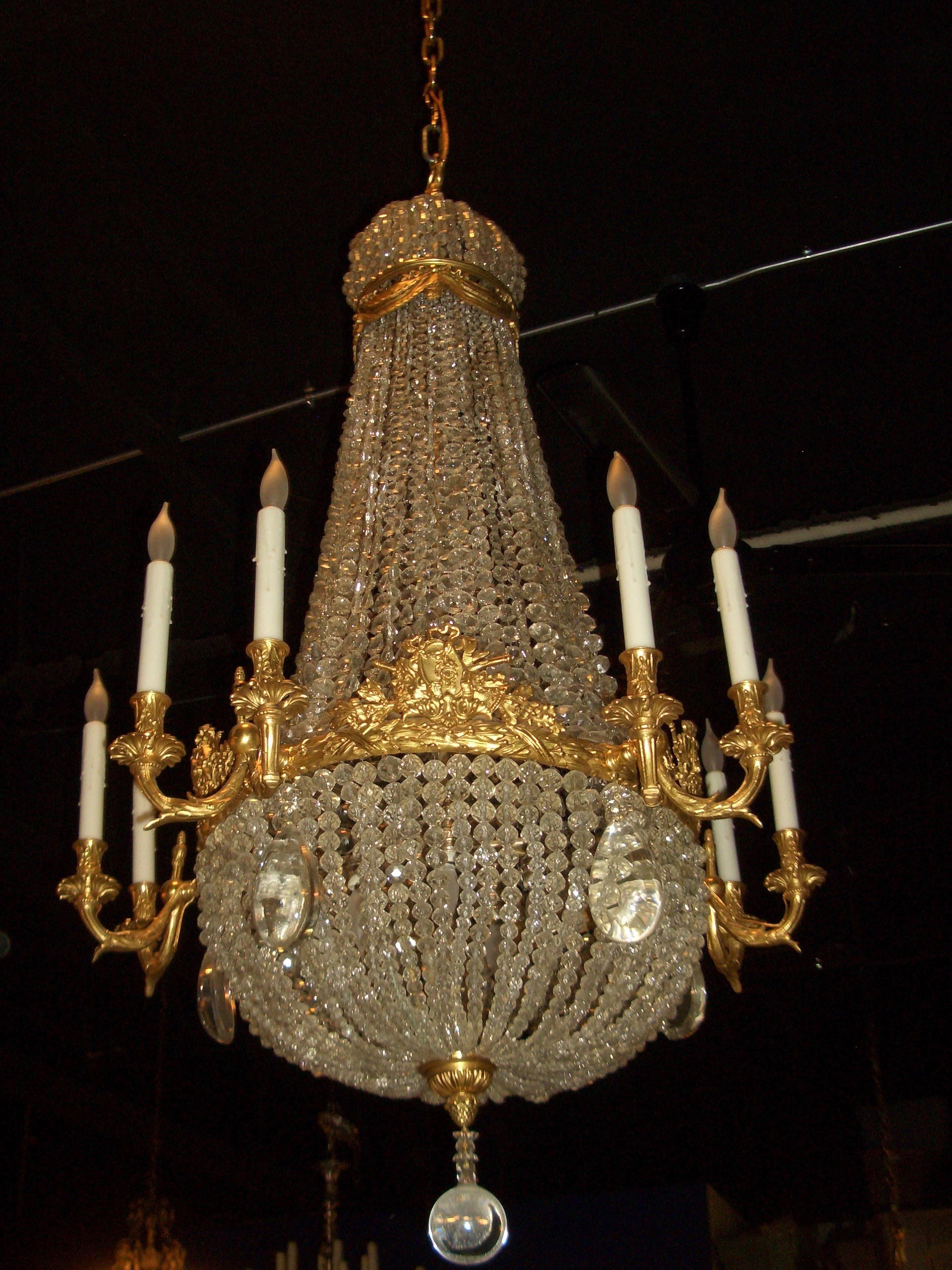 Dore over Bronze and Crystal Chandelier Sterling Associates